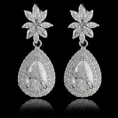 Sparking Copper/Zircon/Platinum Plated Ladies' Earrings
