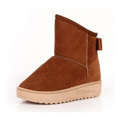 Suede Flat Heel Ankle Boots Snow Boots With Bowknot shoes