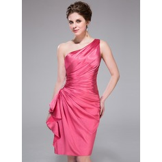 Sheath/Column One-Shoulder Knee-Length Charmeuse Bridesmaid Dress With Beading Cascading Ruffles