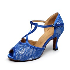 Women's Satin Lace Heels Sandals Latin Dance Shoes