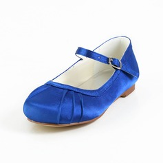 Girl's Satin Flat Heel Closed Toe Flats With Buckle