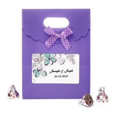 Personalized Floral Design Nonwoven Fabric Favor Bags With Bow (Set of 12)