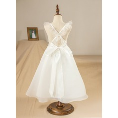 A-Line/Princess Tea-length Flower Girl Dress - Organza/Satin/Tulle/Lace Sleeveless V-neck With Lace/Bow(s)