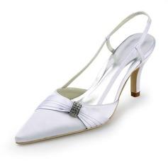Pour femme Satiné Talon aiguille Bout fermé Escarpins Chaussures à talon découvert avec Strass