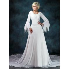 Forme Princesse Col rond Traîne mi-longue Mousseline Robe de mariée avec Plissé Emperler