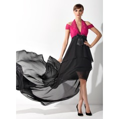 A-Line/Princess Halter Asymmetrical Chiffon Lace Mother of the Bride Dress With Ruffle Bow(s)