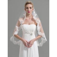 One-tier Lace Applique Edge Fingertip Bridal Veils With Applique