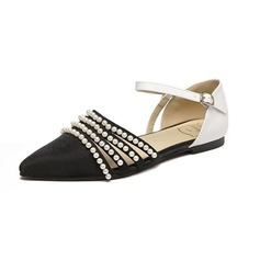 Women's Cloth Flat Heel Flats With Imitation Pearl Buckle shoes