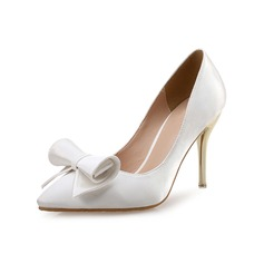 Women's Satin Leatherette Stiletto Heel Pumps With Bowknot shoes