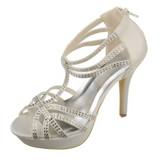 Women's Satin Stiletto Heel Peep Toe Platform Sandals With Buckle Rhinestone