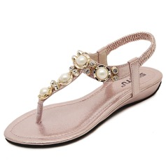 Women's Leatherette Low Heel Sandals With Rhinestone Imitation Pearl shoes