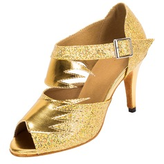 Women's Sparkling Glitter Heels Pumps Latin Dance Shoes