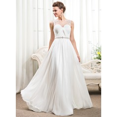 A-Line/Princess Scoop Neck Court Train Chiffon Wedding Dress With Ruffle Beading Appliques Lace Sequins Bow(s)