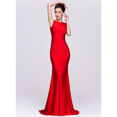 Trumpet/Mermaid Scoop Neck Sweep Train Jersey Evening Dress (017065562)
