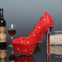 Women's Lace Leatherette Stiletto Heel Closed Toe Pumps