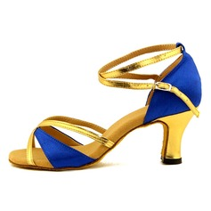 Women's Satin Leatherette Sandals Latin With Hollow-out Dance Shoes