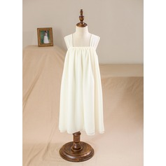 Empire Tea-length Flower Girl Dress - Tribute silk Square Neckline