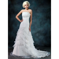 A-formet/Prinsesse Scalloped Hals Bane-tog Organza Brudekjole med Frynse Perlebesydd
