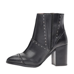 Women's Leatherette Chunky Heel Pumps Closed Toe Boots Ankle Boots With Rivet shoes