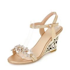المرأة بو كعب ويدج صنادل مضخات أسافين تو زقزقة أحذية خفيفة مع حجر الراين أحذية
