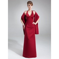 Sheath/Column Halter Floor-Length Satin Bridesmaid Dress