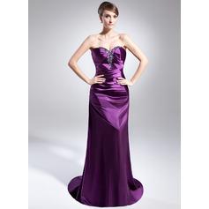 Sheath/Column Sweetheart Sweep Train Charmeuse Evening Dress With Ruffle Beading