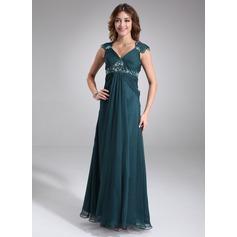 Empire V-neck Floor-Length Chiffon Chiffon Maternity Bridesmaid Dress With Ruffle Lace Beading
