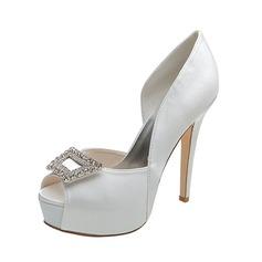Women's Satin Stiletto Heel Peep Toe Pumps Sandals With Buckle Rhinestone