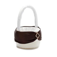 Beautiful Flower Basket in Satin With Rhinestones/Sash