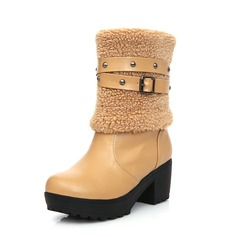 Leatherette Chunky Heel Ankle Boots With Buckle Fur shoes