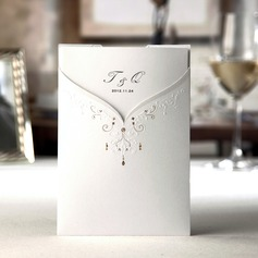 Personalized Bride And Groom Embossed Paper Invitation Cards With Bow (Set of 50)