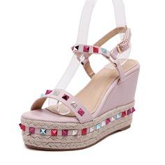 Women's Leatherette Wedge Heel Sandals Slingbacks shoes