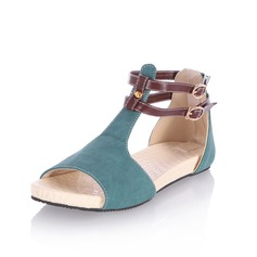 Leatherette Flat Heel Sandals Flats Peep Toe With Buckle shoes