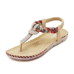 Women's Leatherette Flat Heel Sandals Flats With Rhinestone shoes