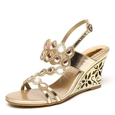 Women's Leatherette Wedge Heel Sandals Wedges Peep Toe With Rhinestone shoes