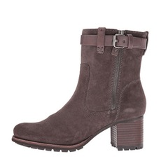 Women's Suede Chunky Heel Ankle Boots With Buckle Zipper shoes