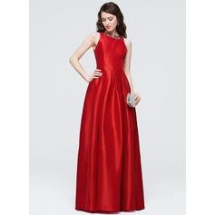 A-Line/Princess Scoop Neck Floor-Length Taffeta Prom Dress With Beading Sequins