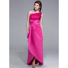Sheath/Column One-Shoulder Asymmetrical Satin Lace Evening Dress With Ruffle