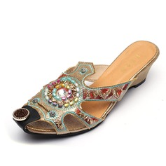 Women's Leatherette Wedge Heel Sandals Closed Toe Wedges Slippers With Imitation Pearl shoes