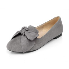 Women's Leatherette Flat Heel Flats Closed Toe With Bowknot shoes