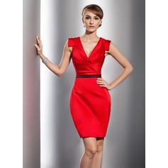 Sheath/Column V-neck Short/Mini Satin Cocktail Dress With Ruffle Sash