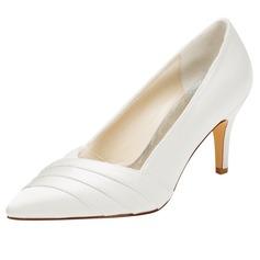 Women's Silk Like Satin Stiletto Heel Closed Toe Pumps
