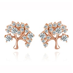 Lovely Copper/Zircon/Platinum Plated Women's/Ladies' Earrings