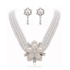 Snowflakes Shaped Alloy/Pearl With Rhinestone Ladies' Jewelry Sets
