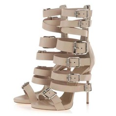 Suede Stiletto Heel Sandals Platform With Buckle shoes