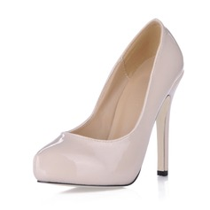 Women's Patent Leather Stiletto Heel Closed Toe Platform Pumps