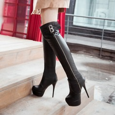 Women's Leatherette Stiletto Heel Platform Knee High Boots With Buckle shoes