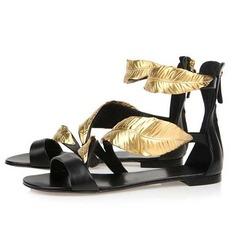 Couro verdadeiro Sem salto Sandálias Sem salto sapatos