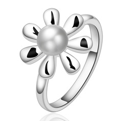 Flower Shaped Copper/Silver Plated Ladies' Rings