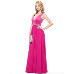 A-Line/Princess V-neck Floor-Length Chiffon Satin Prom Dress With Beading Sequins